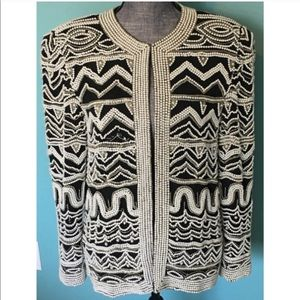 Vintage Silk Beaded Pearl Jacket Medium 80s Retro